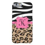 Cebra y monograma personalizado leopardo funda de iPhone 6 barely there