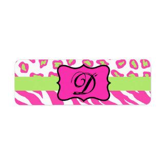 Cebra y piel rosadas y blancas de Cheeta Etiqueta De Remitente