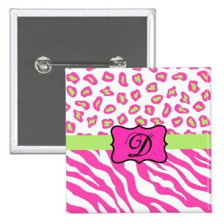 Cebra y piel rosadas y blancas de Cheeta Pin Cuadrada 5 Cm