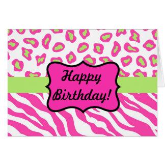 Cebra y piel rosadas y blancas de Cheeta Tarjeta De Felicitación