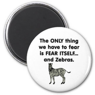 Cebras 1 del miedo sí mismo imán redondo 5 cm