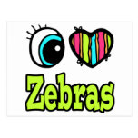 Cebras brillantes del amor del corazón I del ojo Tarjeta Postal