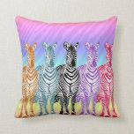 Cebras del arco iris cojin