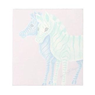 Cebras en colores pastel femeninas con las rayas bloc de papel