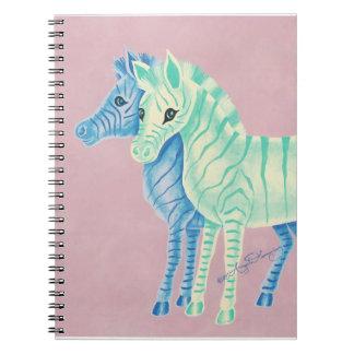 Cebras en colores pastel femeninas con las rayas cuaderno