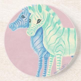 Cebras en colores pastel femeninas con las rayas posavasos manualidades