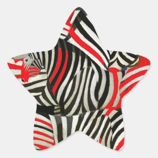 Cebras rojas pegatina forma de estrella