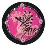 Cebras rosadas femeninas en negro reloj de pared