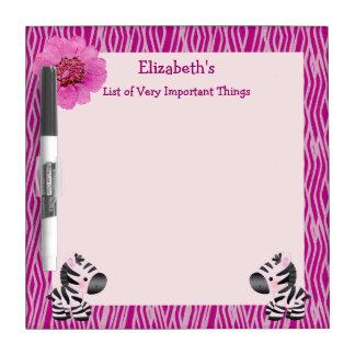Cebras rosadas y tablero seco del borrado del pizarra blanca