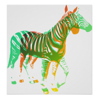 Cebras - verde y naranja poster