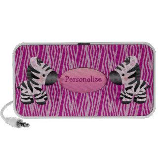 Cebras y altavoz rosados personalizados del estamp