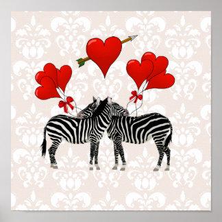 Cebras y corazones en el damasco rosado póster