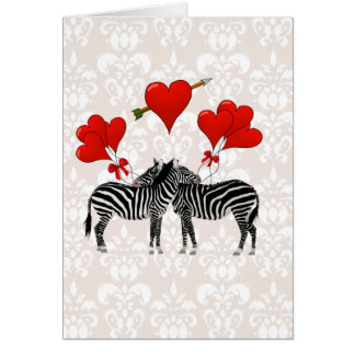 Cebras y corazones en el damasco rosado tarjetas
