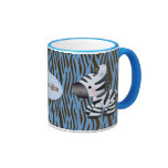Cebras y taza azules personalizadas del estampado