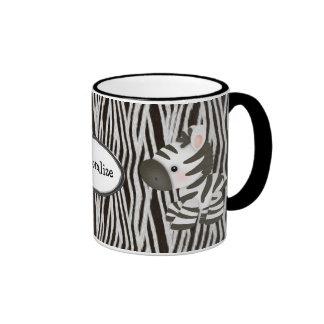 Cebras y taza personalizadas del estampado de anim