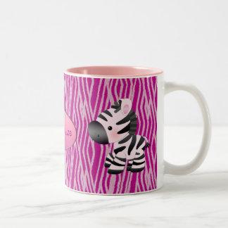 Cebras y taza rosadas personalizadas del estampado