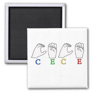 CECE ASL FINGERSPELLED NAME SIGN FEMALE 2 INCH SQUARE MAGNET