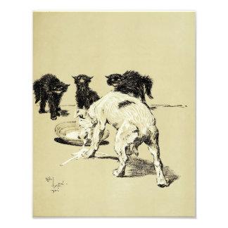 """Cecil Aldin 1902 """"Dog Drinking Kittens Milk"""" Print Photo Print"""