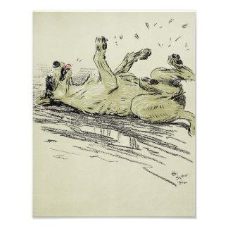 "Cecil Aldin 1902 ""Dog Rolling in The Mud"" Print Photo Print"