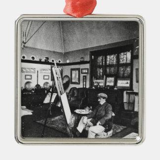 Cecil Aldin in his studio Metal Ornament