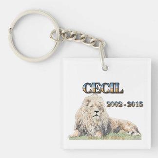 Cecil el león llavero cuadrado acrílico a doble cara