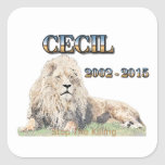 Cecil el león pegatina cuadrada