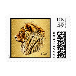 Cecil el león sellos postales