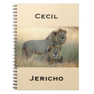 Cecil & Jericho Brother Lions from Africa Spiral Notebook