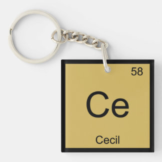 Cecil Name Chemistry Element Periodic Table Square Acrylic Keychains