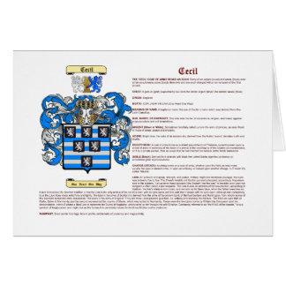 Cecil (significado) tarjeta pequeña