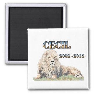 Cecil The Lion 2 Inch Square Magnet