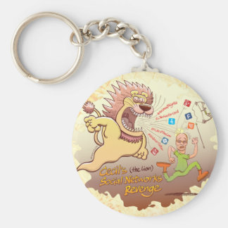 Cecil the Lion's Social Networks Revenge Basic Round Button Keychain