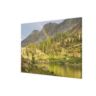 Cecret Lake with rainbow over Devil's Castle, Canvas Print