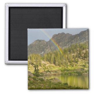 Cecret Lake with rainbow over Devil's Castle, Fridge Magnet