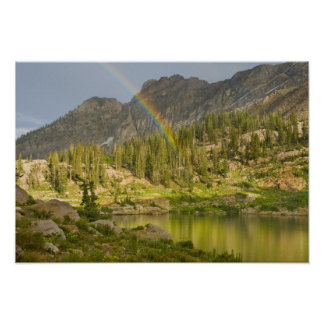 Cecret Lake with rainbow over Devil's Castle, Poster