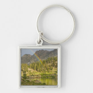Cecret Lake with rainbow over Devil's Castle, Silver-Colored Square Keychain