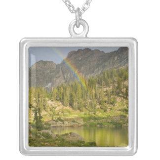 Cecret Lake with rainbow over Devil's Castle, Square Pendant Necklace