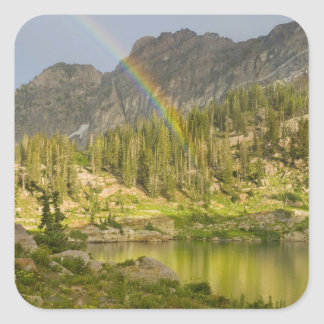 Cecret Lake with rainbow over Devil's Castle, Square Sticker