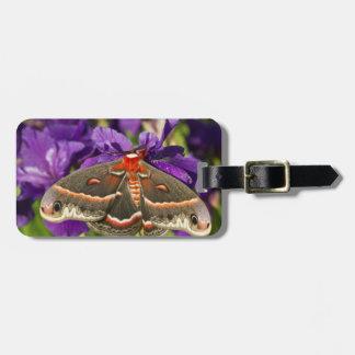Cecropia Moth in flower garden Bag Tags