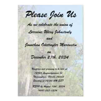 cedar covered in spanish moss personalized invitations