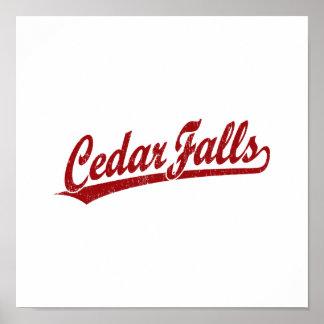 Cedar Falls script logo in red Poster