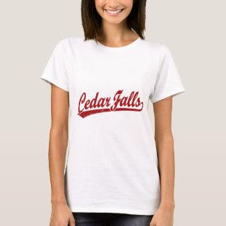 Cedar Falls script logo in red T-Shirt
