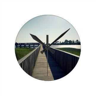 Cedar Key Fishing Pier Round Clock