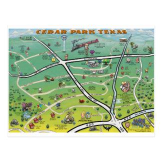 Cedar Park Texas Cartoon Map Postcard