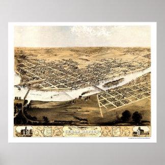 Cedar Rapids, IA Panoramic Map - 1868 Poster