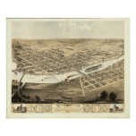 Cedar Rapids Iowa 1868 Antique Panoramic Map Poster