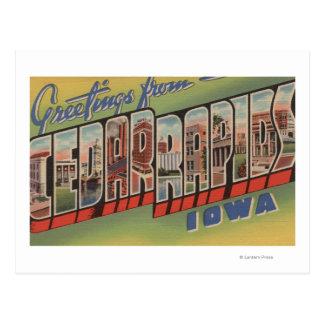 Cedar Rapids Iowa - escenas grandes de la letra Tarjeta Postal