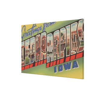 Cedar Rapids, Iowa - Large Letter Scenes Canvas Print