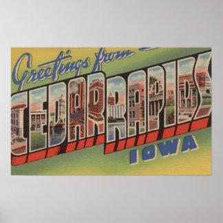 Cedar Rapids, Iowa - Large Letter Scenes Poster
