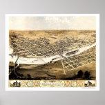 Cedar Rapids, mapa panorámico de IA - 1868 Poster
